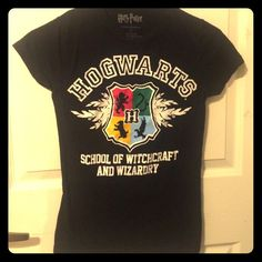 Harry Potter T-shirt / Shirt ~ Hogwarts Harry Potter ~ Hogwarts School of Witchcraft and Wizardry; very form fitting; HARDLY used; will fit petite people very well;                                  Please feel free to make offers and ask   questions! I'm open to trades as well Tops