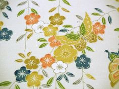 Yuzen Butterfly Plum Blossom Vintage Japanese Tango chirimen silk kimono fabric