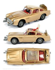 """Corgi """"James Bond"""" Pre-production Aston Martin taken from the film """"Goldfinger"""" - finished in gold body, red interior with """"James Bond"""" figure, criss-cross wheels, grey base with brass factory screw Vintage Toys 1960s, 1960s Toys, Childhood Toys, Childhood Memories, Bond Cars, Aston Martin Db5, Miniature Cars, Corgi Toys, Metal Toys"""