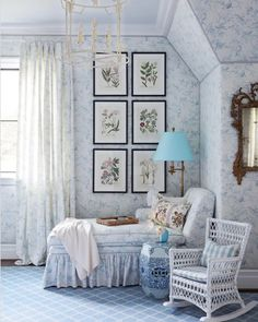 Amy Berry Reading Nook {pictured here}. Click over for links to bring this darling reading nook to your home! Blue And White Fabric, White Fabrics, Traditional Interior, Neo Traditional, Traditional Decorating, Chinoiserie, White Girls Rooms, Berry, Style Me Pretty Living