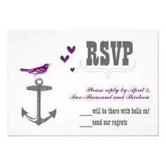 ReviewVintage Modern Cute Radiant Orchid Bird & Anchor Custom Invitesso please read the important details before your purchasing anyway here is the best buy
