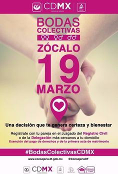La #AGUCDMX le invita a las #BodasColectivasCDMX este 19 de marzo en el Zócalo.
