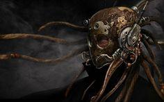 fantasy sci fi dark warrior cyborg mask tech mech art wallpaper background