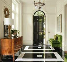 Floors and lime green velvet sofa