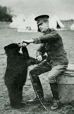 """10 Fun Facts About Winnie The Pooh Lt. Colebourne and Winnie – the bear who became the inspiration for A. Milne's """"Winnie the Pooh"""" (his son Christopher Robin named his teddy bear after seeing . Christopher Robin, Canadian Army, Canadian History, Canadian Soldiers, British Army, American History, Winnie The Pooh, World War One, First World"""