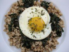 Fried Egg, Crisp Kale on Crunchy Barley      * 1/2 C. Kale, cut in thin strips     * 1 C. pearled barley, cooked     * 1 egg     * 1 t. – 2t. oil     * salt and pepper