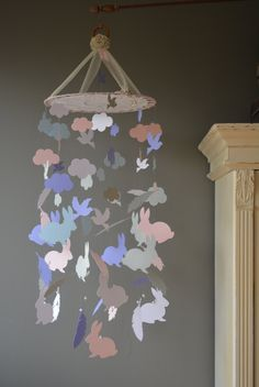 Custom order for Ciara - Mobile with vintage lace and feathers/bunny's/birds/clouds made in white, grey, soft blue/pink/lavender shades door SierGoed op Etsy