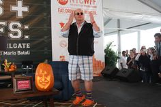 Chef Mario Batali appears onstage at Jets & Chefs: The Ultimate Tailgate during the Food Network New York City Wine & Food Festival. -FoodNetwork