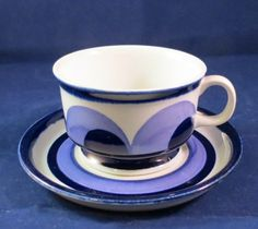 Vintage MCM  'Arabia of Finland, Paju Mocca' cup and saucer, Hand painted,  c.1970