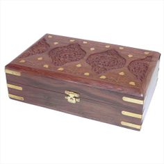 Carved Wooden Box With Flower And Brass Inlay - £12.95   #boxes #home