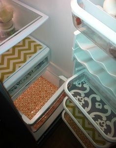 Pimp your Refrigerator; Cut decorative shelf paper to fit your refrigerator shelves. Cleaning bonus: If you cover the shelves with Press-n-Seal plastic wrap, just rip it off and replace it when the shelves get dirty.