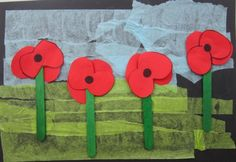 Have them paint the background and cut out poppys and stems Remembrance Day Activities, Remembrance Day Art, Class Art Projects, Kindergarten Art Projects, Poppy Craft For Kids, Art For Kids, Tapas, Fun Arts And Crafts, Crafts For Kids