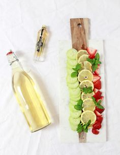 Spa Inspired White Wine Sangria Recipe- #anthrofave marble board