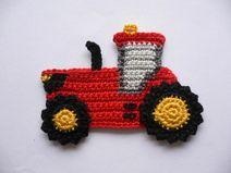 Traktor - Häkelapplikation