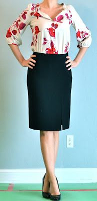 outfit post: pink floral blouse, black pencil skirt | Outfit Posts Dynamic