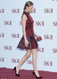 Model figure: Kate revealed her lean legs as she strolled in her crimson pumps