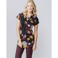 Tie Waist Floral Tunic in Black Print #fall2015 #rickis