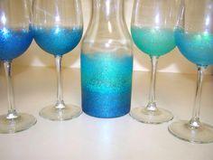 DIY: Glitter Wine Glasses & Ombre Glitter Wine Decanter