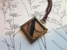 Cute Picture Frame Feather Necklace  Wild Elegant by NettleHeart