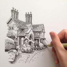 #art #drawing #pen #sketch #illustration #linedrawing #architecture #building #house #cottage #england #westdesignproducts