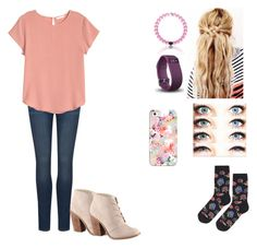 """""""Pretty in Pink"""" by madelinealexander ❤ liked on Polyvore featuring Paige Denim, H&M, Call it SPRING, Fitbit, Topshop and Casetify"""