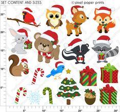 Navidad en el bosque Set de Clip Art y por pixelpaperprints