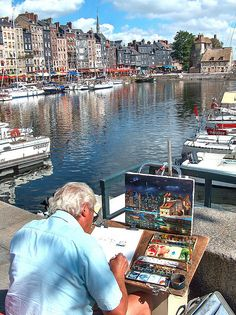 Honfleur, France The freshest seafood by the sea. I think my clams squirted at me. Wonderful Places, Beautiful Places, Boat Painting, Normandy France, Mont Saint Michel, French Countryside, Travel Abroad, Plein Air, Places To See