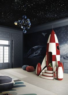 Unbelievable outer space bedroom featuring a rocket ship club house. This is taking the outer space theme to the next level. Outer Space Bedroom, Rockets For Kids, Deco Kids, Kids Bedroom Furniture, Furniture For Kids, Cheap Furniture, Unique Furniture, Furniture Ideas, Furniture Design