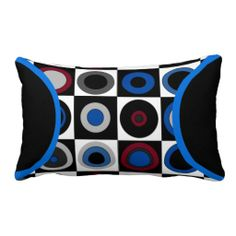 Circles and Squares (Red,Blue,White,Black Gray) L - This cool lumber pillow features a retro graphics pattern of equally sized and aligned square cells filled with solid circles and with layered circles of varying colors. Marine Blue, Cranberry Red, black, white, and 2 shades of gray. Perfect for a boy's bedroom or den. Coordinating lamps and more @ www.zazzle.com/homearts/geometric+gifts?rf=238155573613991097&tc=pnt #geometricpillows #boysbedroomdecor