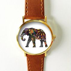 Elephant Watch Vintage Style Leather Watch Women by FreeForme