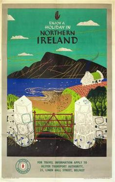 reproduction of vintage northern ireland travel poster