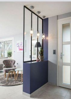 """Search result for """"verriere entree maison"""" Indoor Canopy, Partition Design, Partition Ideas, Wall Partition, Style At Home, Home Decor Inspiration, Home And Living, Sweet Home, Interior Design"""
