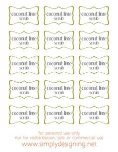 Raw Sugar Scrub Recipe Using Coconut Oil and Fresh Limes Recipe Using Coconut Oil, Coconut Oil For Dogs, Oil Recipe, Coconut Soap, Soap Labels, Sugar Scrub Recipe, Diy Body Scrub, Printable Labels, Free Printables