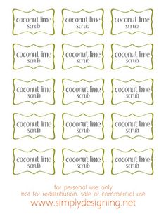 Raw Sugar Scrub Recipe Using Coconut Oil and Fresh Limes Recipe Using Coconut Oil, Coconut Oil For Dogs, Oil Recipe, Coconut Soap, Sugar Scrub Recipe, Diy Body Scrub, Printable Labels, Free Printables, Artisanal