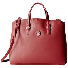 Tommy Hilfiger Mara Shopper Satchel Bag (Red) Handbags (€58) ❤ liked on Polyvore featuring bags, handbags, red, faux leather purses, tommy hilfiger purses, man bag, handbags purses and satchel purses