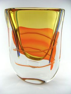 RARE MURANO GLAS VASE INCALMO SOMMERSO XL MIT CANNE SIGNED