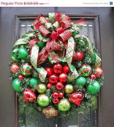 CIJ, Christmas Ornament Wreath, Christmas Wreath, Ornament Wreath Christmas, Christmas Wreaths for Door, Baubles & Bows, christmas in july via Etsy