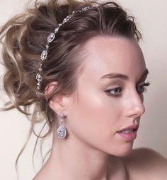 Shop our wedding earrings & bridal delicate statement earrings from Amy O. Browse more of our entire collection of wedding jewelry & bridal jewelry. Soft Wedding Makeup, Wedding Makeup Tutorial, Bridal Makeup, Loose Buns, Jad, Silver Headband, Glamorous Makeup, Unique Makeup, Glamorous Wedding
