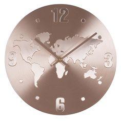 Uhr Weltkarte Aus Kupferfarbenem Aluminium Jetzt Bestellen Unter:  Https://moebel.ladendirekt
