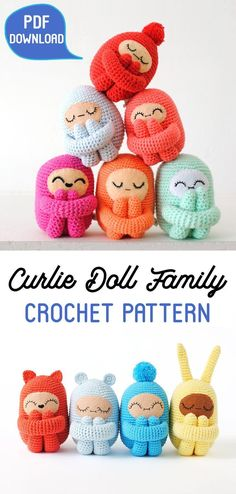 Curlie Doll Crochet Pattern - this cute amigurumi pattern has 4 optional head accessories (bunny ears, kitty ears, bear ears, and a pompom) with several face variations. Make numerous copies of these fun dolls in various colors! They are perfect as home decor items for kids room, as toys or as a cute gift for a friend. #ad #etsy #crochetpattern #amigurumi #crochet #amigurumipattern #patternsforcrochet #giftsforher
