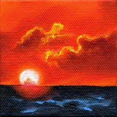 Sunset, Miniature Sunset Landscape Painting Original Art by Marina Petro, painting by artist Marina Petro