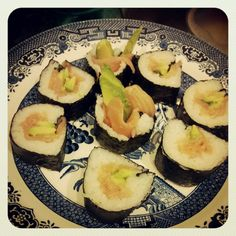 Homemade salmon and avocado maki.