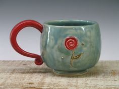 Red Rose - light blue Ceramic - Large Hand made coffee cup / pottery mug by Heidi
