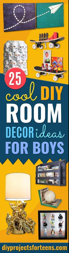 DIY Room Decor Ideas for Boys- Teen Boy Bedroom Decorating Ideas Pinterest - Cheap and Cool Ways to Decorate Boys Room in House - DYI Tutorial and Projects for Wall Art, Bedding, Tabletop decor, shelves, rugs, lamps via @diyprojectteens Pallet Tree, Diy Pallet, Boys Room Decor, Decor Ideas, Decorating Ideas, Diy Ideas, Diy For Teens, Cool Diy, Boho Decor