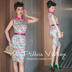 FREE SHIPPING Le Palais Vintage 2016 Summer New Arrival Elegant Sweet Plaid Rose Sleeveless Peter Pan Collar Slim Floral Dress #Affiliate