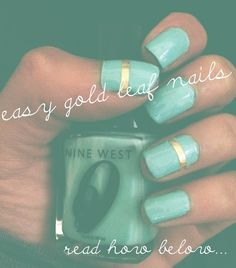 Easy Gold Leaf Nails how to on wonderamazement.blogspot.com