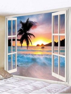 OFF] 2020 Window Sunset Beach Print Tapestry Wall Hanging Art Decoration In… - cruise. Cheap Wall Tapestries, Hanging Art, Tapestry Wall Hanging, Wall Hangings, Tapestry Ceiling, Tapestry Bedroom, Wall Murals, Forest Landscape, Landscape Walls