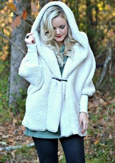 Apricot Faux Fur Batwing Hooded Loose Coat