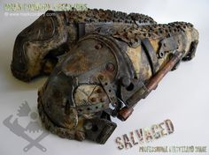 Post Apocalyptic costume - armoured greaves with piston knee support for LARP/Airsoft. SALVAGED Ware enquiries always welcome @ www.markcordory.com