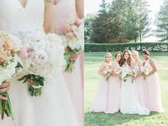 The tiny pink berries punch up the bridesmaid bouquets, making the bride's flowers look extra-chic | Soft and Romantic Virginia Country Club Wedding | Regency at Dominion Valley | Jillian Michelle Photography